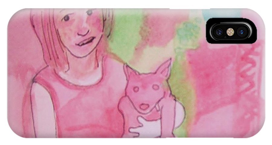 Girl IPhone X Case featuring the painting Princess With Dog by James Christiansen