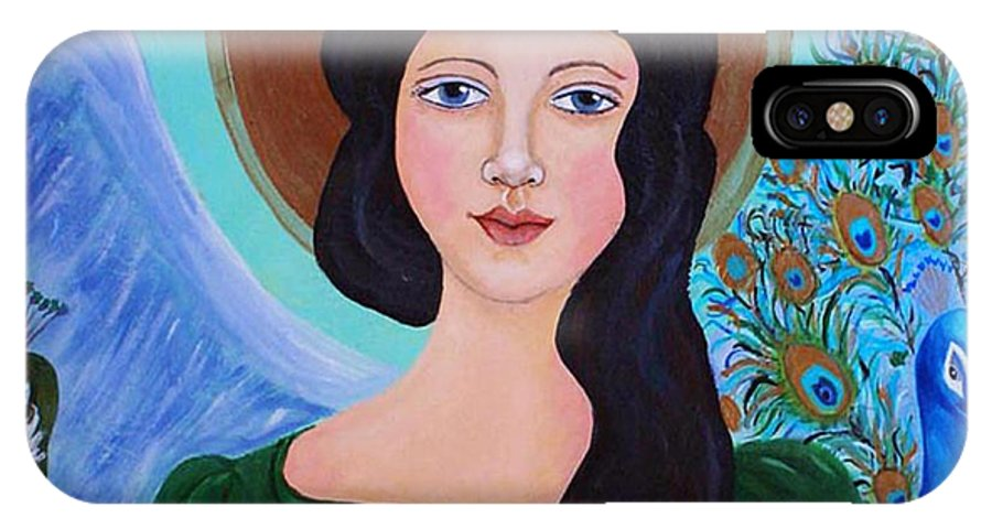 Folk Angel IPhone X Case featuring the painting Priscilla The Balancing Angel Of Love by The Art With A Heart By Charlotte Phillips