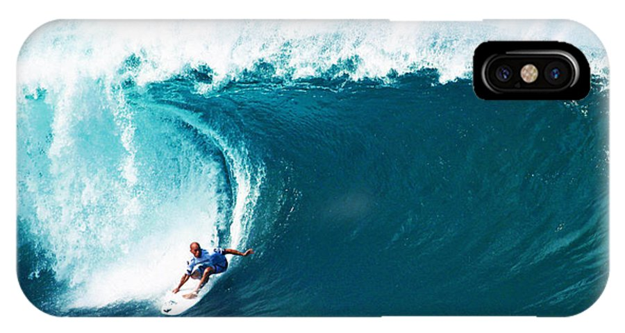 Kelly Slater IPhone X Case featuring the photograph Pro Surfer Kelly Slater Surfing In The Pipeline Masters Contest by Paul Topp