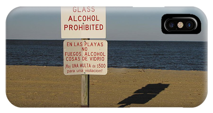 Schuminweb IPhone X Case featuring the photograph Prohibited Items Sign At Sandy Point by Ben Schumin