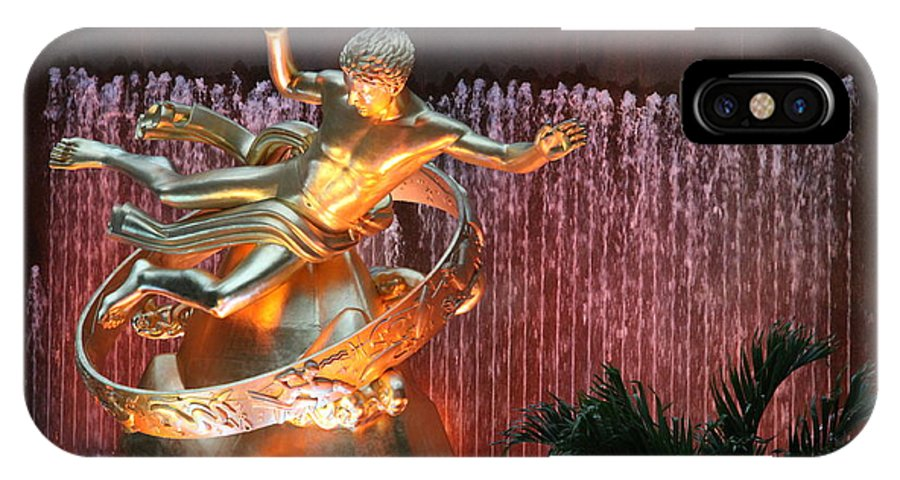 Fountain IPhone X Case featuring the photograph Prometheus Statue - Rockefeller Center Nyc by Christiane Schulze Art And Photography