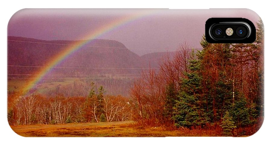 Rainbows IPhone X Case featuring the photograph Promise And Hope Cape Breton by John Malone