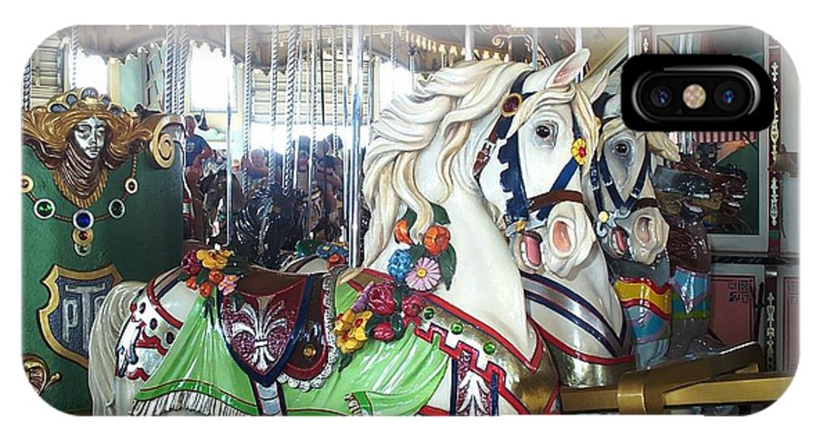 Carousel IPhone X Case featuring the photograph Proud Prancing Ponies by Barbara McDevitt