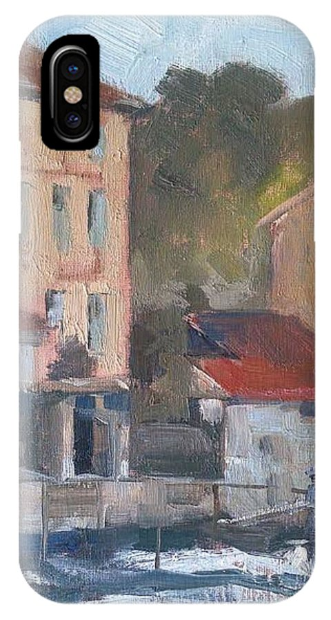 France IPhone X Case featuring the painting Provence Village Stream by Karla Bartholomew