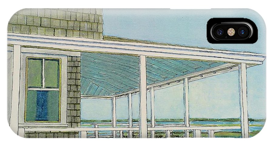 Provincetown IPhone X Case featuring the painting Provincetown Porch by David Hinchen