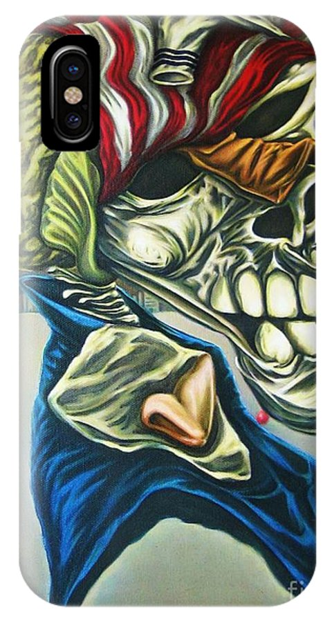 Surrealism IPhone X Case featuring the painting Pseudo-archaic Portrait Of An Imaginary Hometown Hero During A Slow Process Of Decomposition by Mack Galixtar