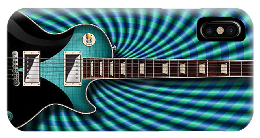Les Paul IPhone X Case featuring the digital art Psychapaul by WB Johnston