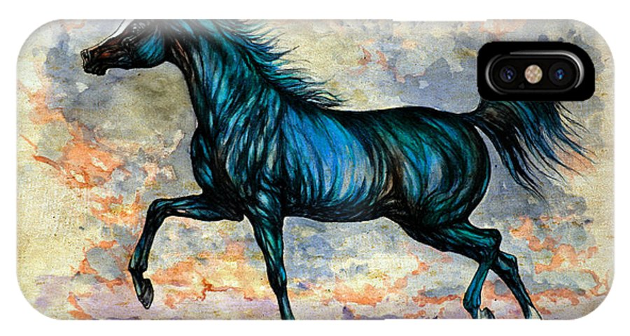 Horse IPhone X Case featuring the painting Psychedelic Blue by Angel Ciesniarska