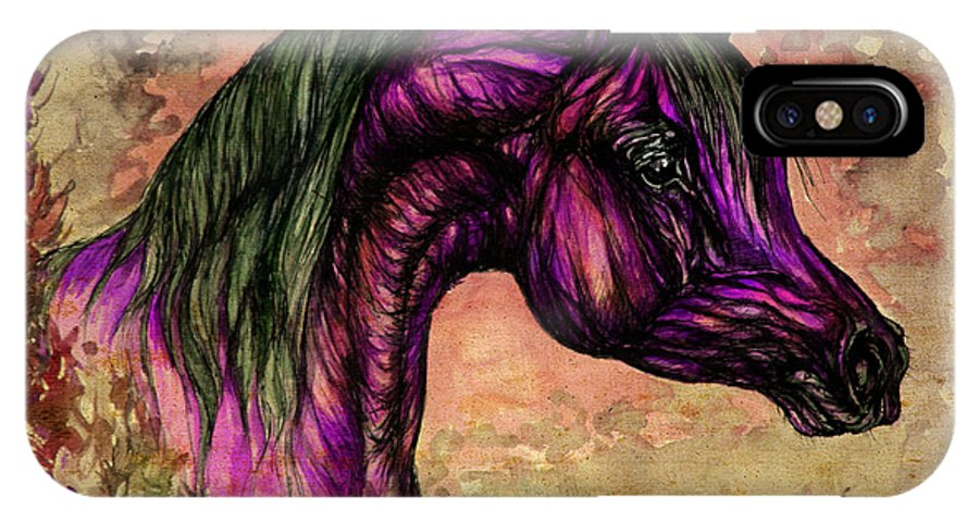 Horse IPhone X Case featuring the painting Psychedelic Purple by Angel Ciesniarska