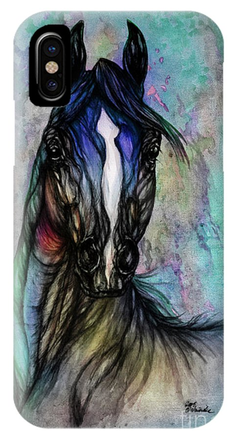 Horse IPhone X Case featuring the painting Psychodelic Blue And Green by Angel Ciesniarska