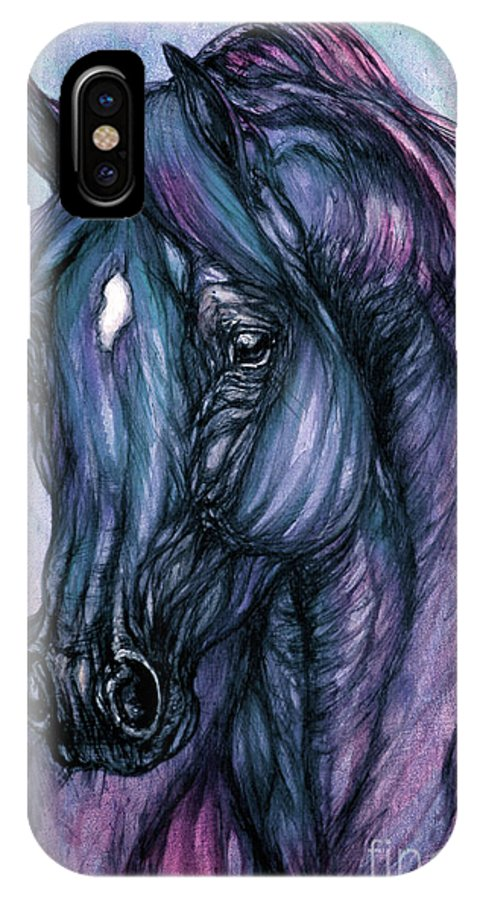 Horse IPhone X Case featuring the painting Psychodelic Deep Blue by Angel Ciesniarska