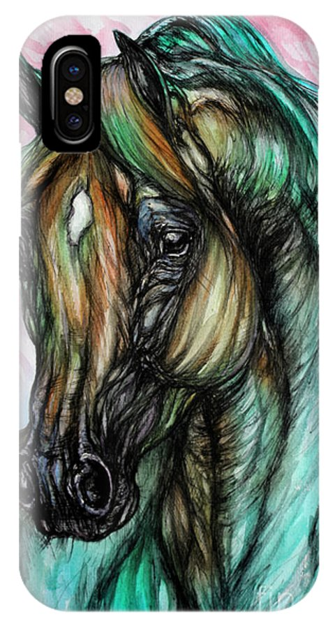 Horse IPhone X Case featuring the painting Psychodelic Pink And Green by Angel Ciesniarska