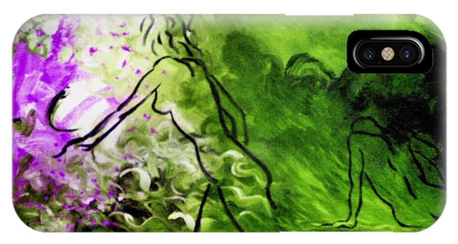 Genio IPhone X Case featuring the painting Psychological State In Green by Genio GgXpress