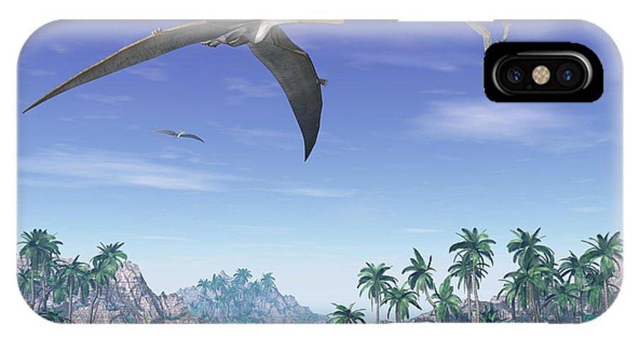 Dinosaur IPhone X Case featuring the digital art Pteranodon Birds Flying Above Islands by Elena Duvernay