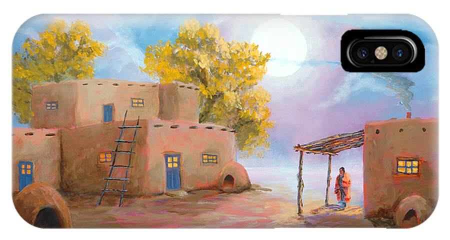Pueblo IPhone X Case featuring the painting Pueblo De Las Lunas by Jerry McElroy