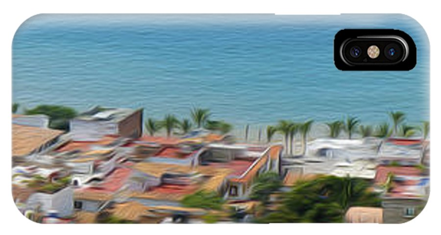 Panorama IPhone X Case featuring the photograph Puerto Vallarta by Aged Pixel