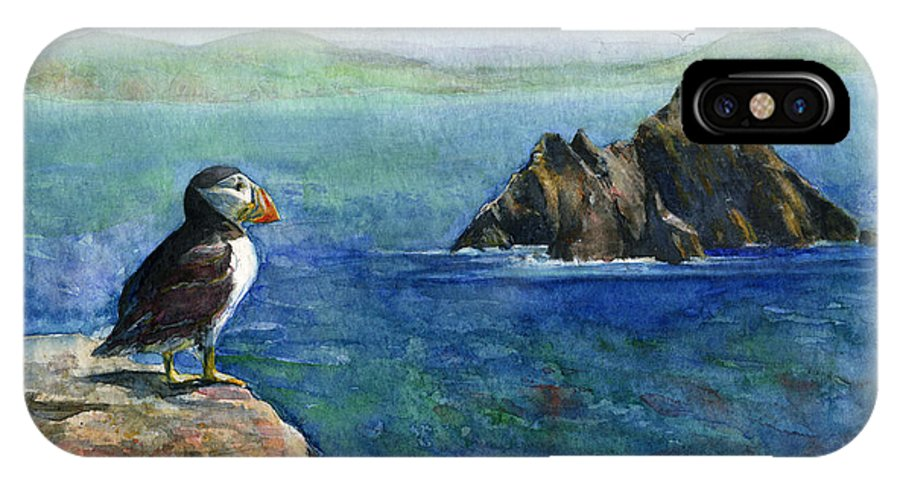 Puffin IPhone X Case featuring the painting Puffin At Skellig Island Ireland by John D Benson