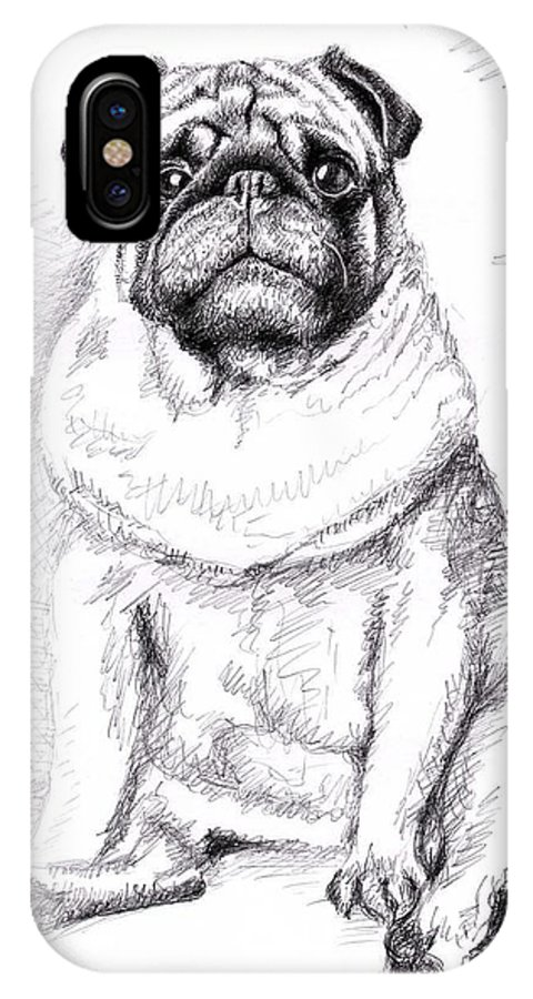 Dog IPhone X Case featuring the drawing Pug Anton by Nicole Zeug