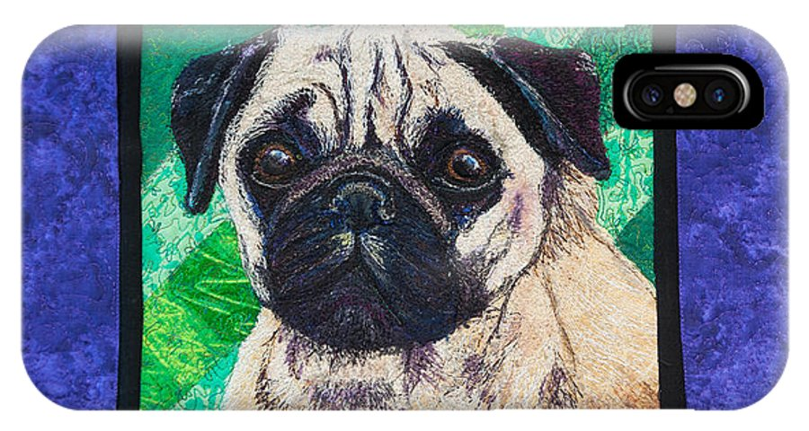 Dog IPhone X Case featuring the tapestry - textile Pug by Dolores Fegan
