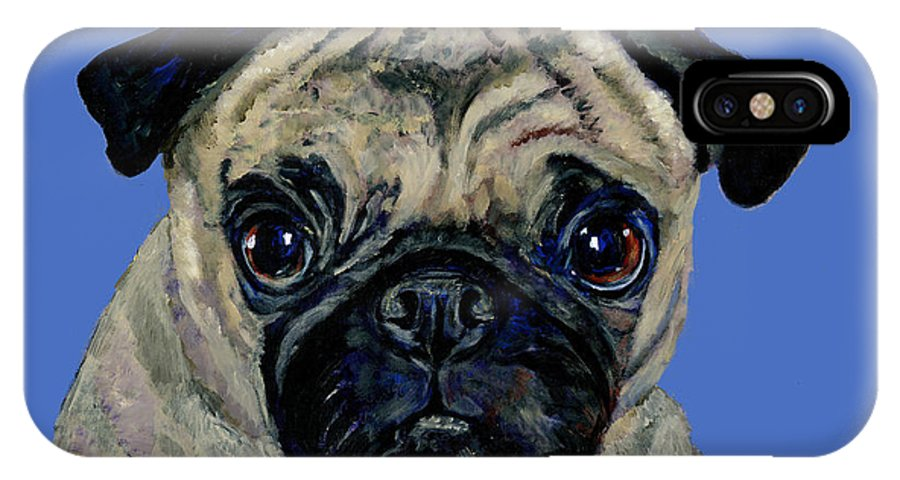 Pug IPhone X Case featuring the painting Pug On Blue by Dale Moses