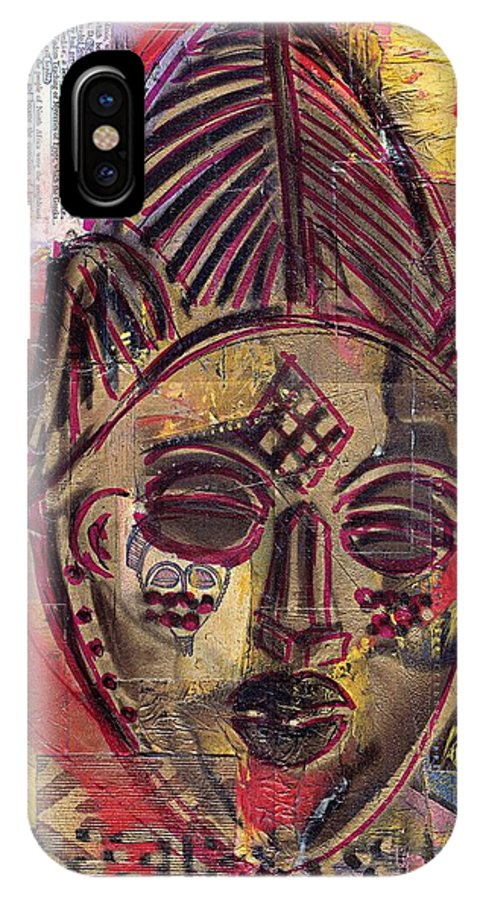 African American IPhone X Case featuring the painting Punu Mask And Compassionate Woman by Everett Spruill