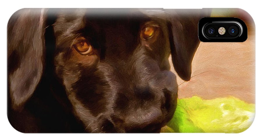 Black Lab IPhone X Case featuring the painting Puppy Love by Michael Pickett