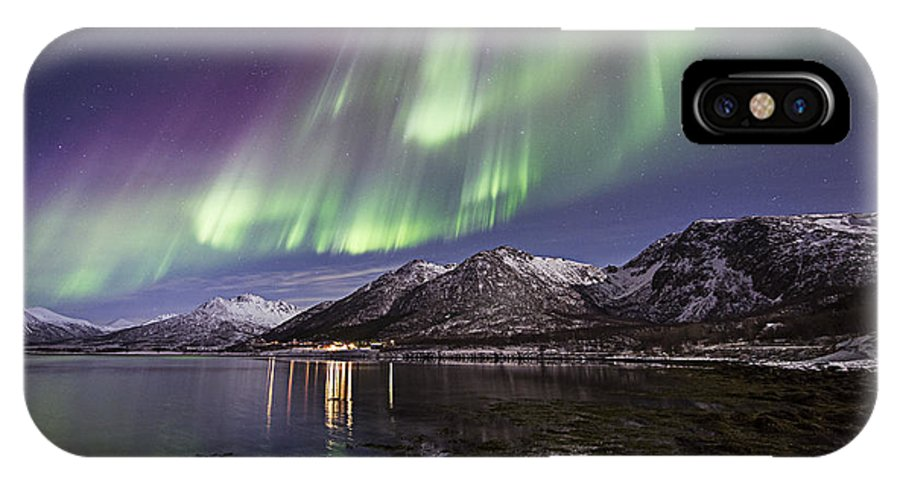 Frank Olsen IPhone X / XS Case featuring the photograph Purple Auroras by Frank Olsen