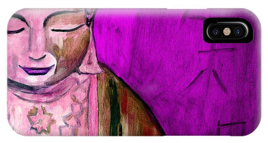 Buddha IPhone X Case featuring the painting Purple Buddha With Characters by Gina Haining