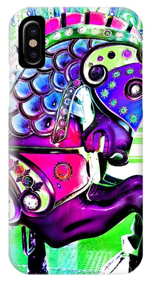 Carousel IPhone X Case featuring the digital art Purple Carousel Horse by Patty Vicknair