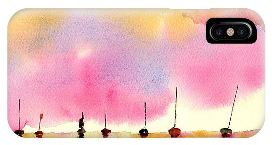 Boat IPhone X Case featuring the painting Purple Dawn by Paul K Taylor