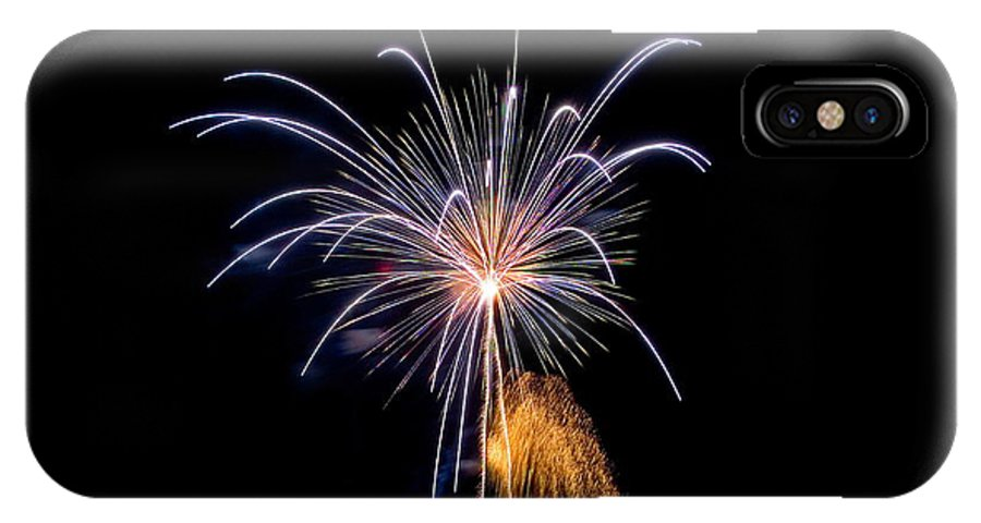Fireworks IPhone X Case featuring the photograph Purple Fire Flower by Devinder Sangha
