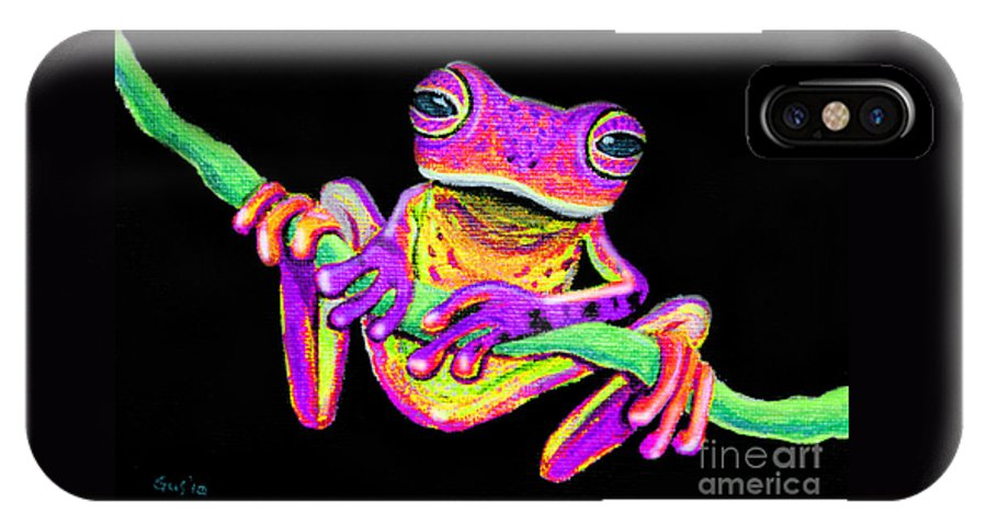 Purple Frog IPhone X Case featuring the painting Purple Frog On A Vine by Nick Gustafson