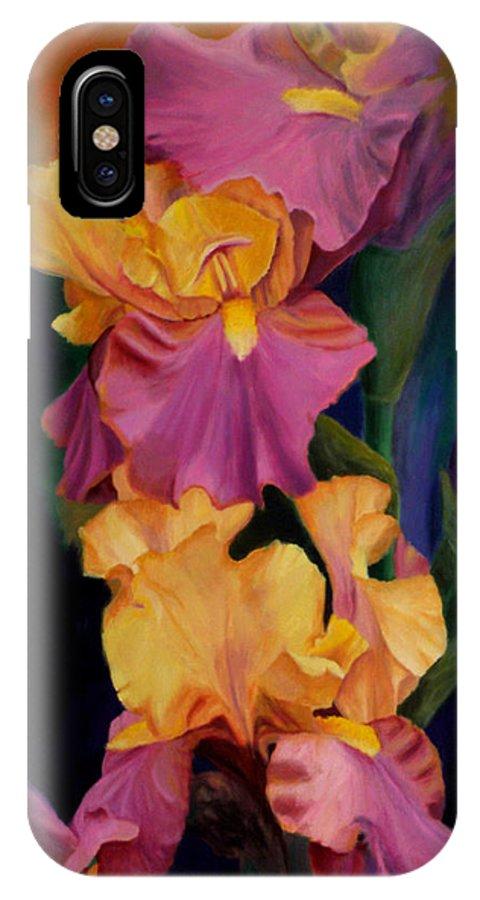 Irises Purple Gold Flowers Flowerpaintings Flowerstill Life Paintings Irises Nature Gardens Oilpaintings IPhone X Case featuring the painting Purple Gold Irises by George Tuffy