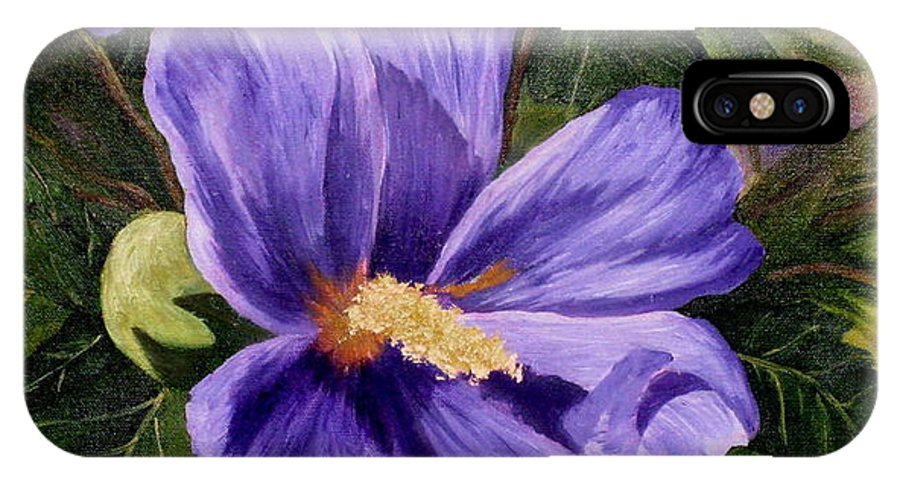 Hibiscus IPhone X Case featuring the painting Purple Hibiscus by Darla Brock