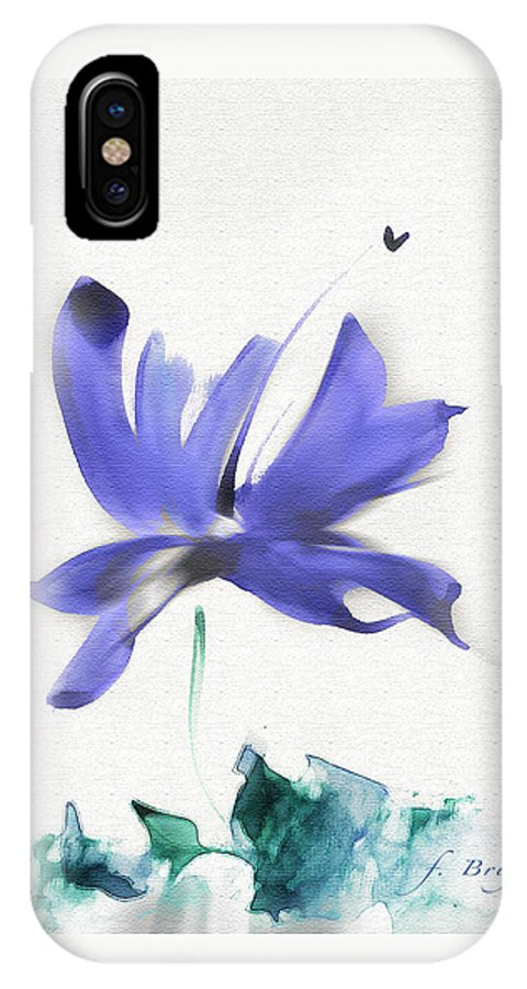 Flower IPhone X Case featuring the mixed media Purple Iris In The Greenery by Frank Bright