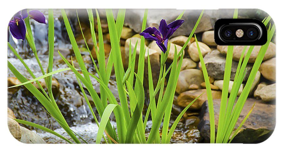 Flowers IPhone X Case featuring the photograph Purple Irises Growing In Waterfall by Penny Lisowski