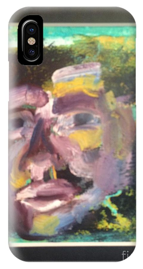 Face IPhone X Case featuring the painting Purple Man by Patricia Curtis