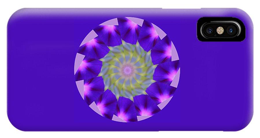 Purple IPhone X / XS Case featuring the photograph Purple Morning Glory Kaleidoscope by Kristy Jeppson