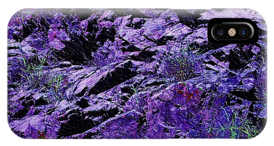 Purple IPhone X Case featuring the digital art Purple Mountains Majesty by Michael Hurwitz