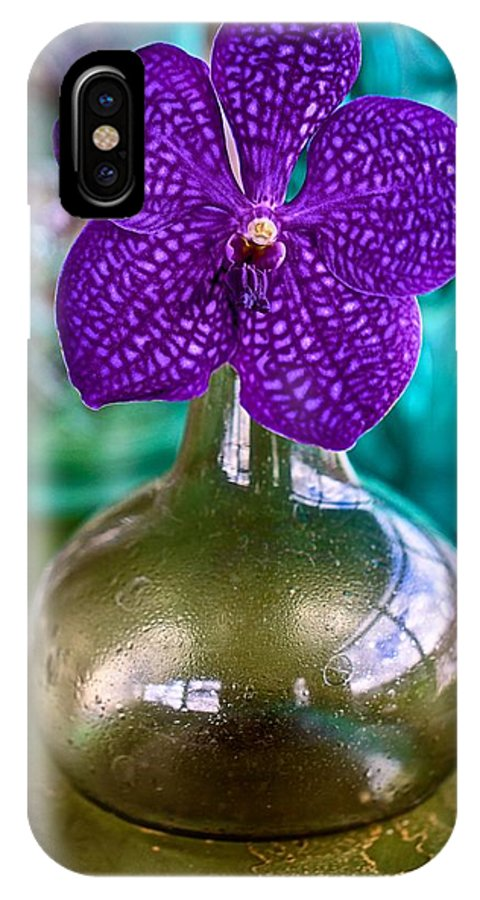 Purple IPhone X / XS Case featuring the photograph Purple Orchid In Vase by Jade Moon