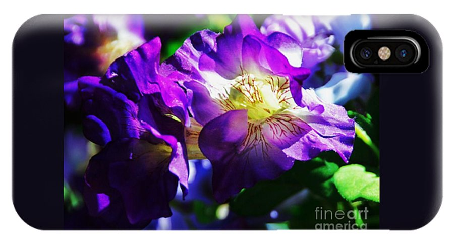 Nature Art Purple Petals Flower Petunia Sunlit Outdoors Spring Vibrant Blossom Intimate Heart Of A Flower Georgia O'keefe Homage Beauty Canvas Print Wood Print Metal Frame Poster Print Available On Throw Pillows Mugs Tote Bags Duvet Covers Shower Curtains Spiral Notebooks Pouches And T Shirts IPhone X Case featuring the photograph Purple Petunia Portrait by Marcus Dagan