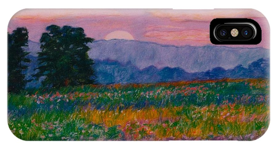 Kendall Kessler IPhone X Case featuring the painting Purple Sunset On The Blue Ridge by Kendall Kessler