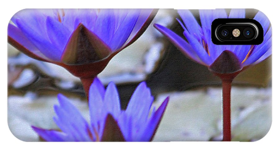 Digital Art IPhone X Case featuring the photograph Purple Times Three by Suzanne Gaff