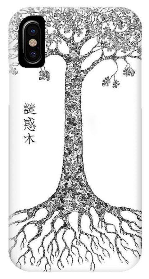 Tree IPhone X Case featuring the drawing Puzzle Tree by Robert Fenwick May Jr