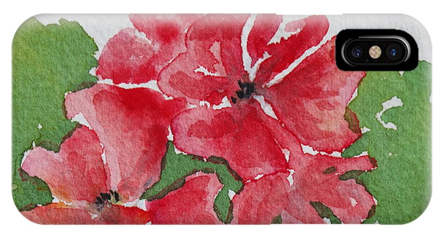 Floral IPhone X Case featuring the painting Pzzzazz by Mary Ellen Mueller Legault