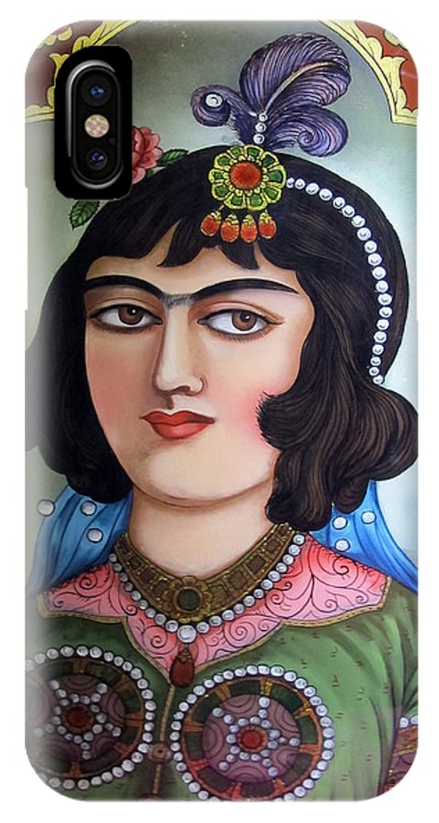 Qajar Lady Reverse Glass Painting Iphone X Case For Sale By Persian Art