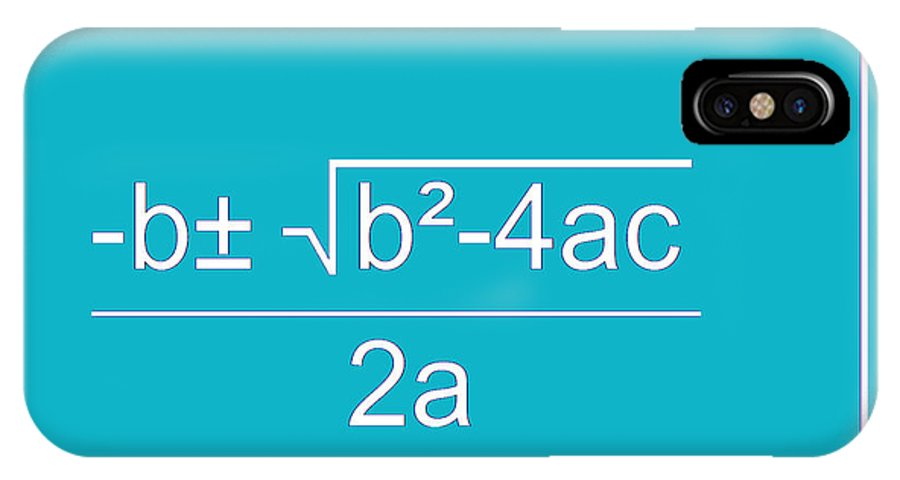 Featured IPhone X Case featuring the digital art Quadratic Equation Aqua-white by Paulette B Wright