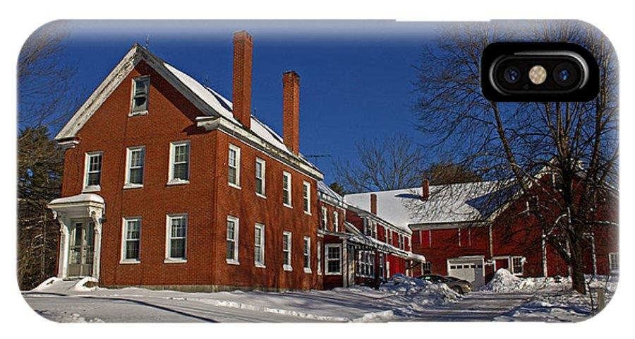 Farmhouse IPhone X Case featuring the photograph Quaint Maine Winter Farm by Catherine Melvin