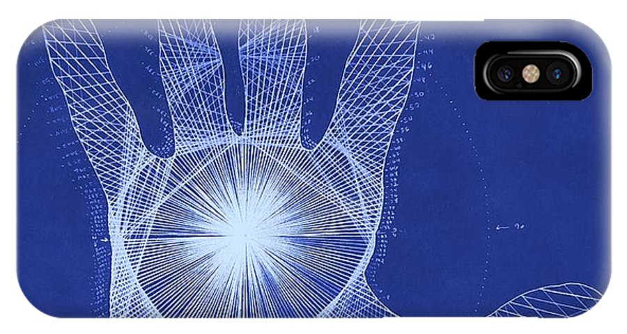 Hand IPhone X Case featuring the drawing Quantum Hand Through My Eyes by Jason Padgett