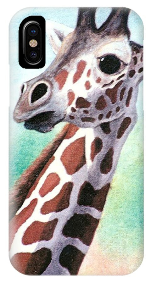 Giraffes IPhone X Case featuring the painting Que Pasa by George I Perez